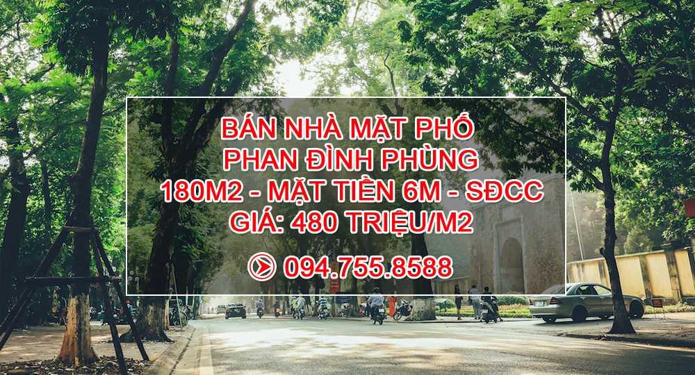 Vỡ nợ! Bán nhà mặt phố Phan Đình Phùng, quận Ba Đình giá 480 triệu/m2, Diện tích 180m2, MT 6m, SĐCC sở hữu tư nhân