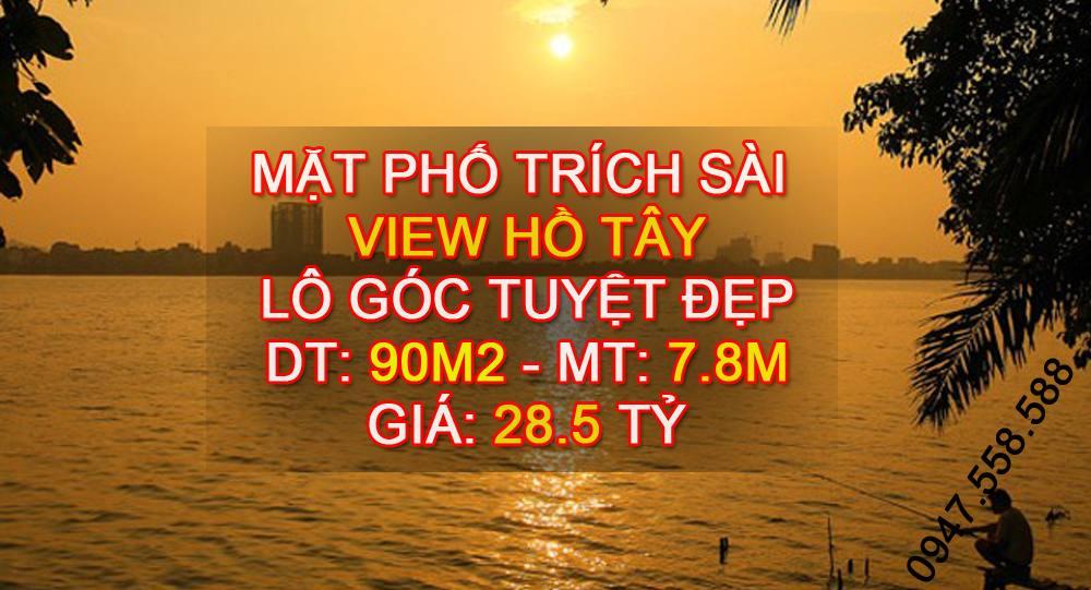 Bán nhà mặt phố Trích Sài, lô góc, view Hồ Tây cực đẹp: DT 90m2, mặt tiền 7.8m
