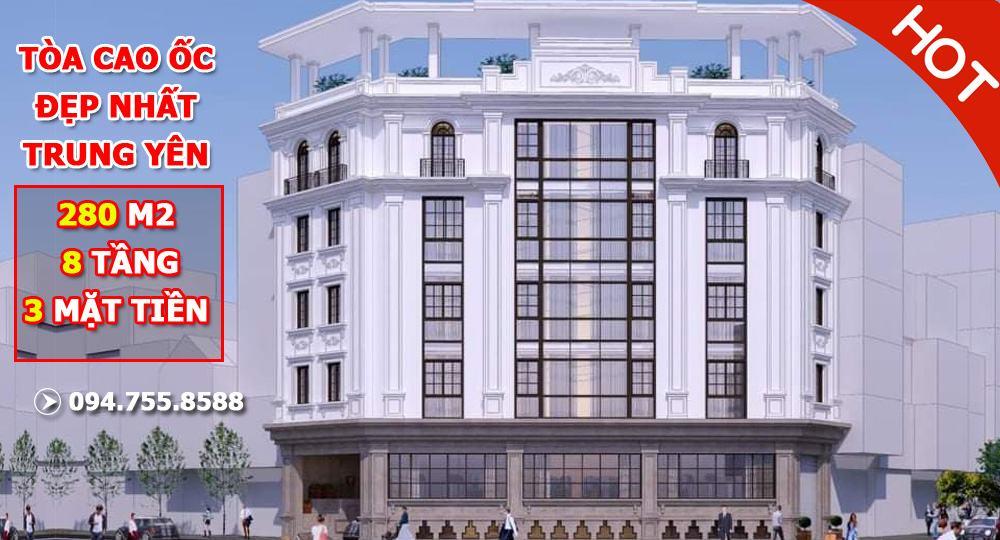 Bán tòa nhà văn phòng đẹp nhất KĐT Trung Yên: 3 mặt tiền, DT 280m2 x 8 tầng thông sàn