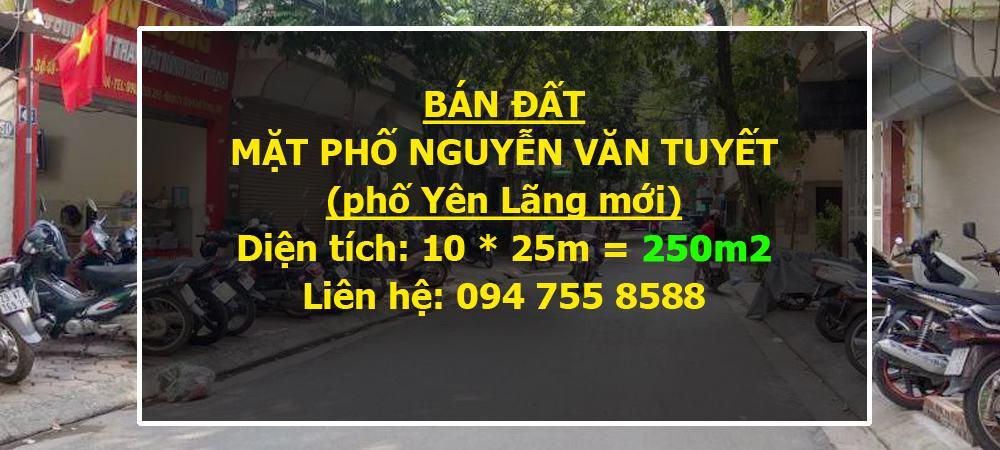 Bán đất mặt phố Nguyễn Văn Tuyết, Đống Đa: 250m2, MT 10m, SĐCC vuông đẹp, vỉa hè rộng