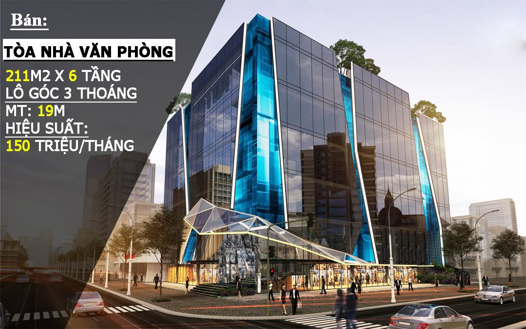 Bán tòa nhà văn phòng quận Hai Bà Trưng: Lô góc 3 mặt thoáng, 6 tầng, mặt tiền rộng 19m, kinh doanh tốt